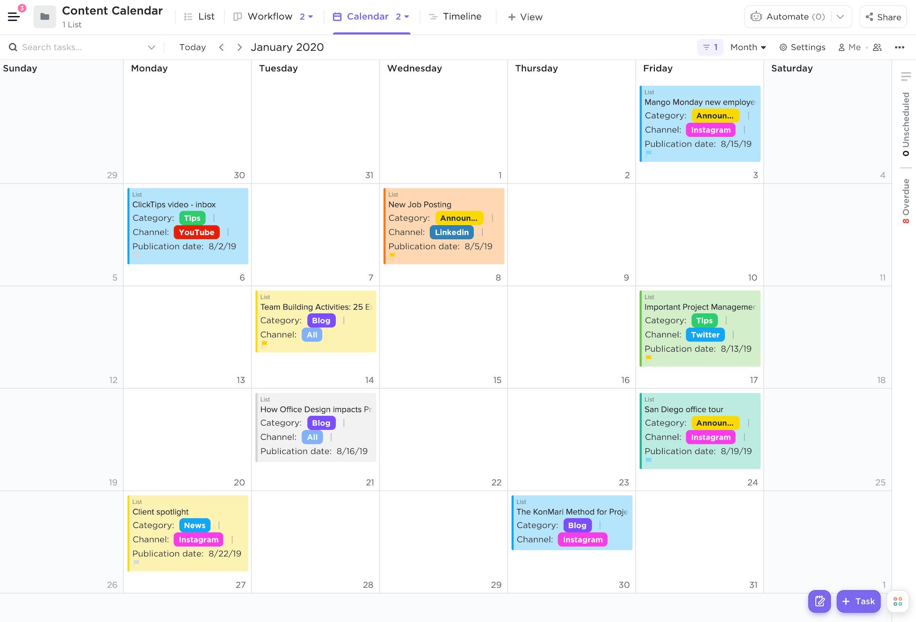 Content Calendar template Calendar view