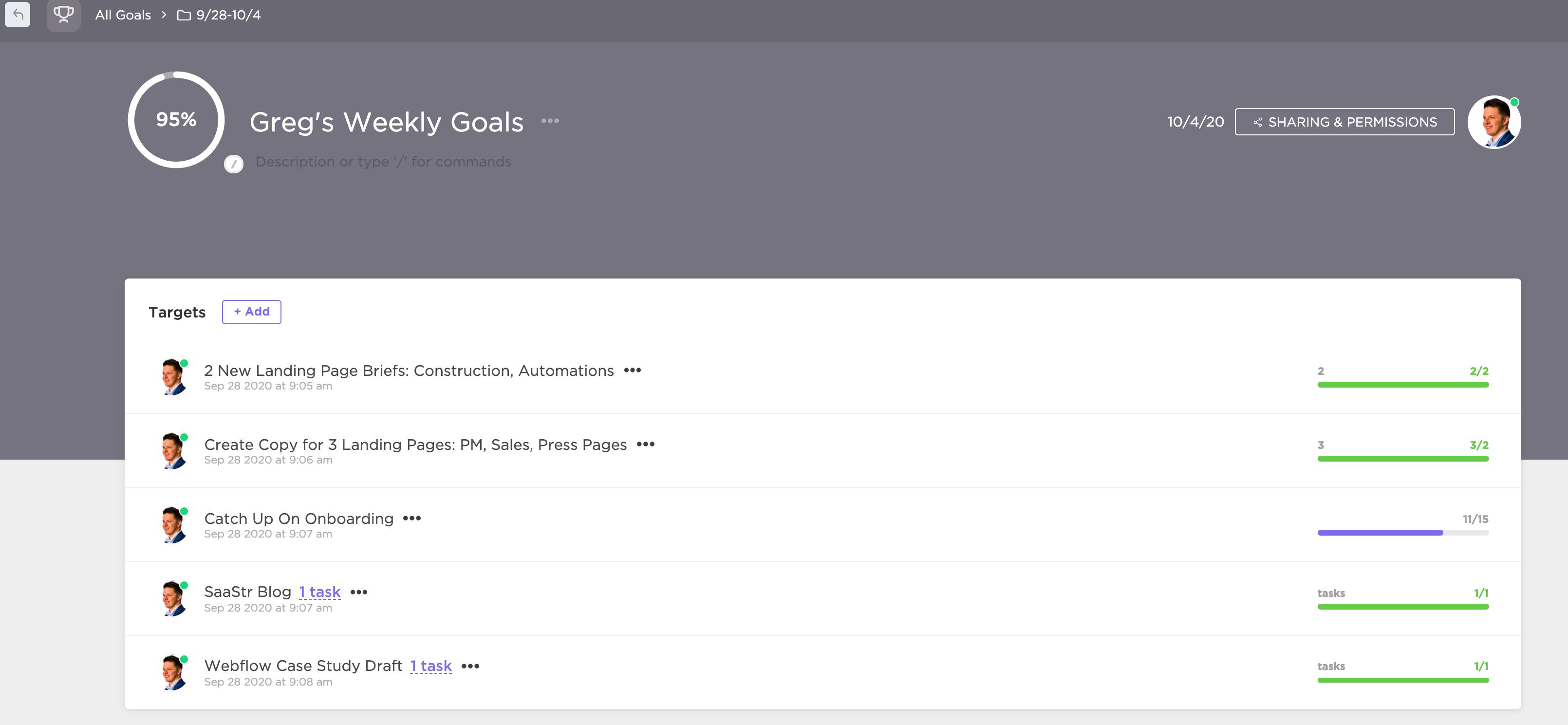 greg's goals in clickup