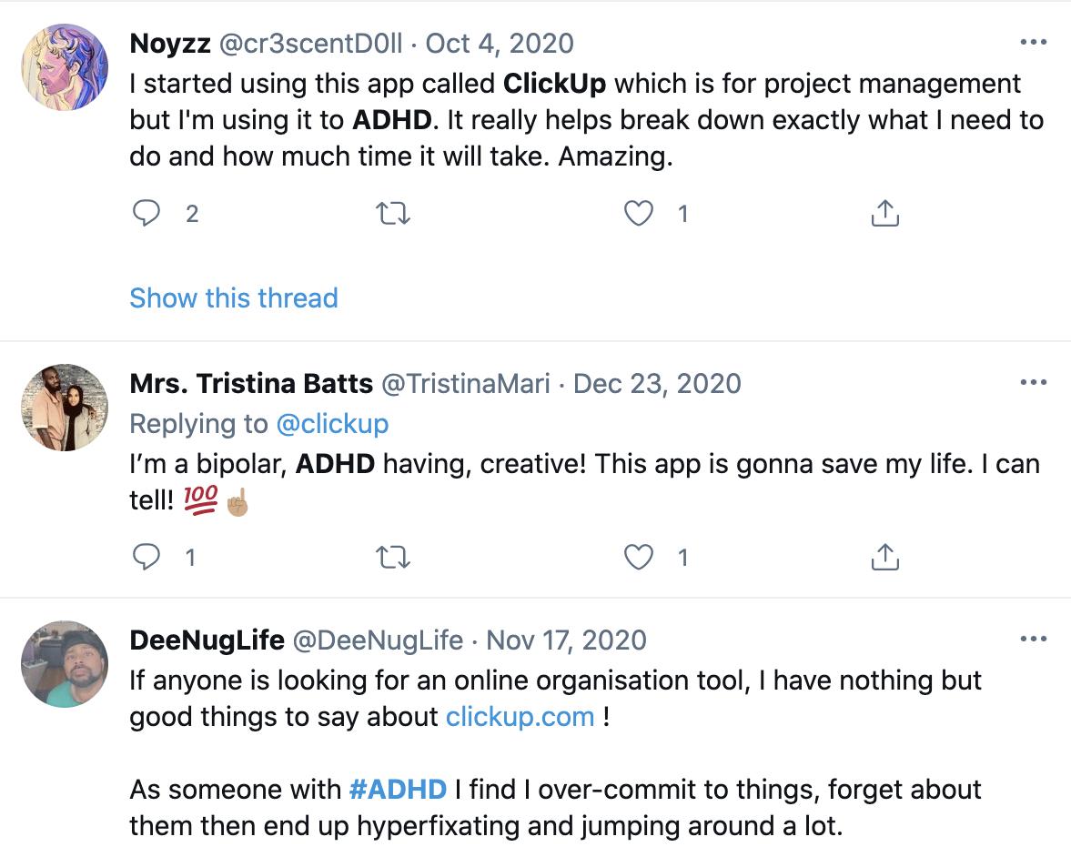 ClickUp user tweets on neurodiversity