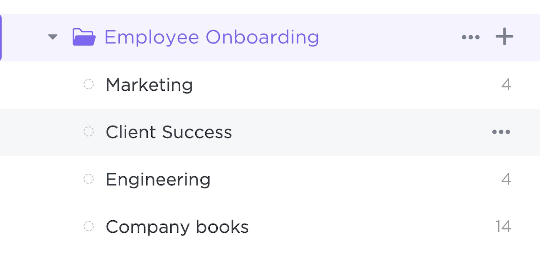 Employee Onboarding template Folder Lists