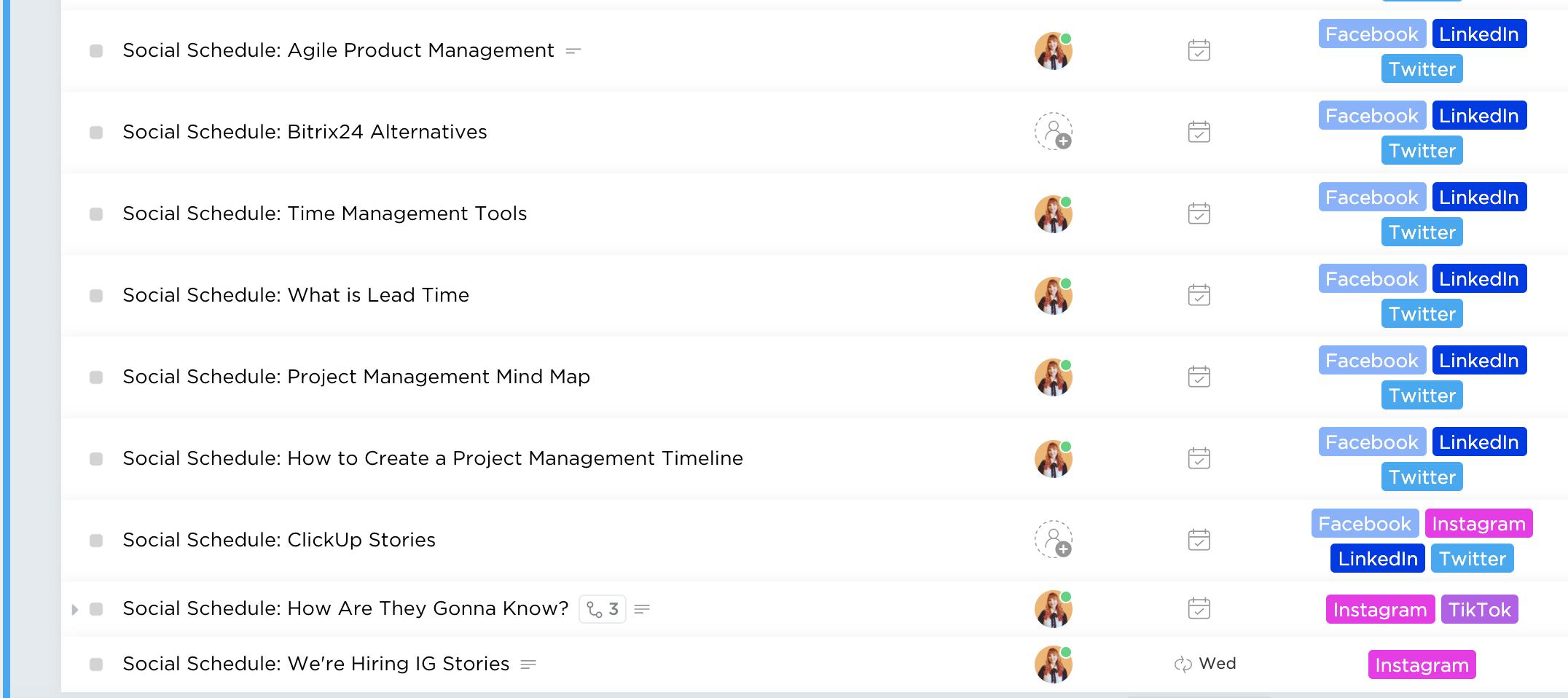 social schedule in clickup