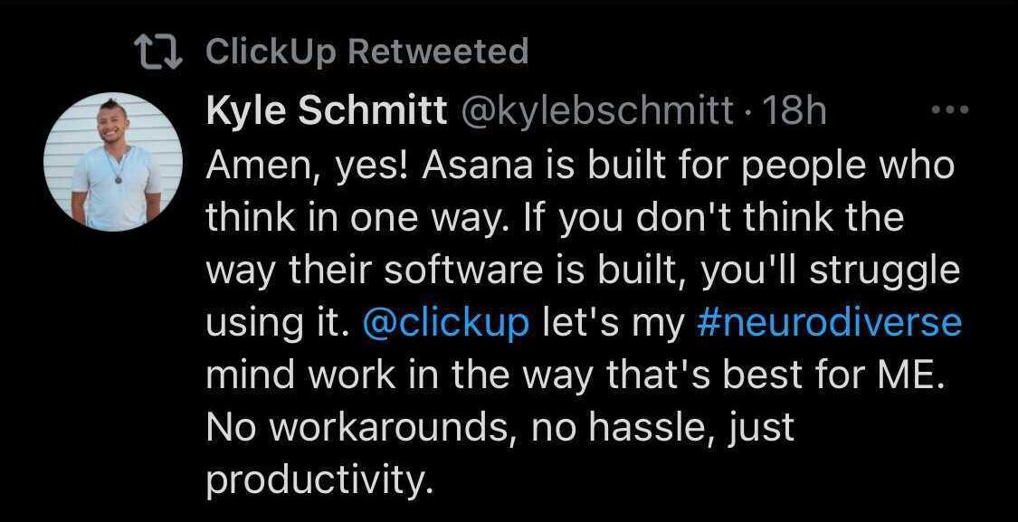 ClickUp user twitter post on neurodiversity
